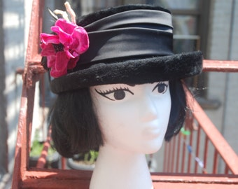 Vintage 1960s Wool and Satin Winter Hat with Magenta Velvet Flower and Feather Accents by The Fair of Texas Made in Austria