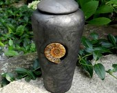 Raku Keepsake or Pet Urn with Ammonite Fossil