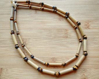 Kauai Bamboo Jewelry - Hawaiian Bamboo and Tigereye Necklace