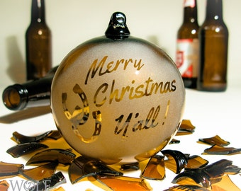 Recycled Blown Glass Ornament Merry Christmas Y'all Horseshoes Eco Friendly Ornament