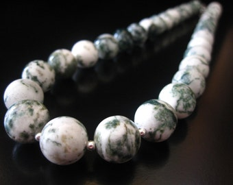 Tree Agate Necklace, Tree Agate Round Beads, Sterling Silver, Green Necklace, Tree Agate Jewelry, Agate Necklace, Agate Jewelry