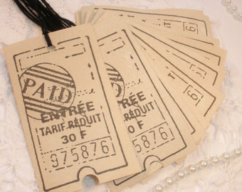 Vintage Inspired Ticket Tags Coffee Stained Set of 10