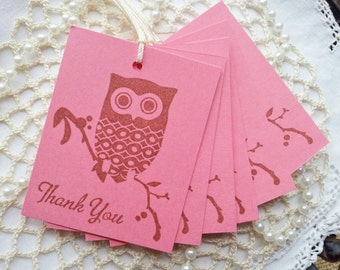 Thank You Owl Tags Pink Baby Shower Its a Girl Baby Shower Decorations Set of 8