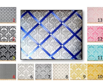 Damask  Print French Memo Board in Your choice of damask fabric by Premier Prints - 16 x 20