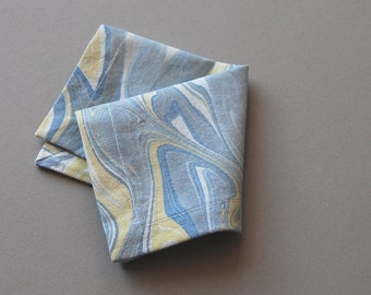 Set of Six Marbled Cocktail Napkins in Blue and Yellow