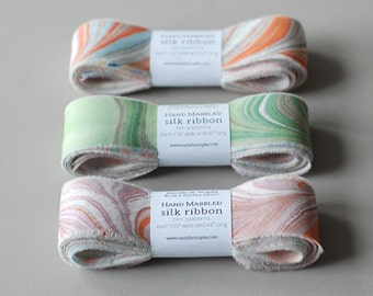 "Marbled Silk Ribbon, 10 Pattern Variety, 42"""