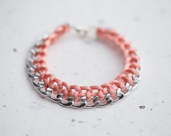 Salmon Peach Chain Braided Bracelet Pastel Pink Cord friendship silver gold bracelet Modern minimalist jewelry