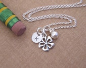 Tiny flower girl Initial necklace - Dainty initial jewelry - Little girl necklace - Birthstone crystal necklace - Photo NOT actual size