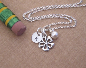 Tiny flower girl Initial necklace - Tiny initial jewelry - Little girl necklace - Birthstone crystal necklace - Photo NOT actual size