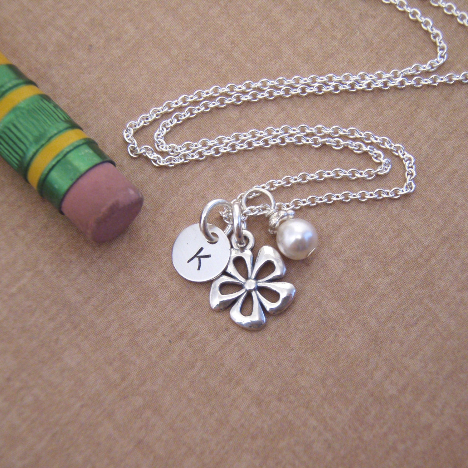 Tiny flower girl initial necklace little girl initial for Gemsprouts tiny plant jewelry