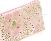 Frog  Pencil Case, Pink and Green Zipper Bag, Cosmetic Bag, Whimsical Zipper Pouch, Long Pencil Case