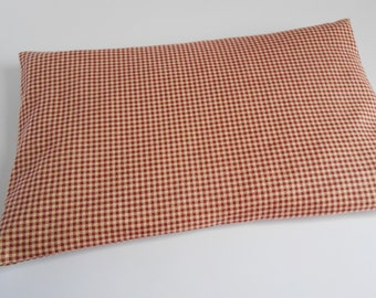 Microwave Heating Pack Corn or Rice 8x11 - Red and White -Unique gift for PMS relief, sore muscles,  Cold and Hot therapy