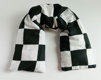 Black and White Checker Neck Wrap  Microwave Heaing Pad Unique Gift Idea for Husband or Hardworker  Use for Muscle Aches and Pains 23x5