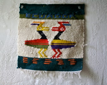 Vintage Ecuadorian Woven Textile Wall Hanging Colorful Wool Two Birds Weaving