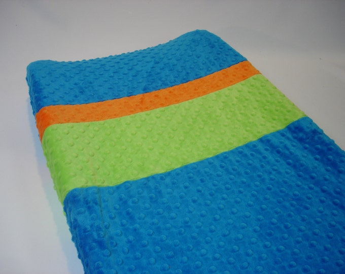 Peacock Blue Changing Pad Cover with Stripes