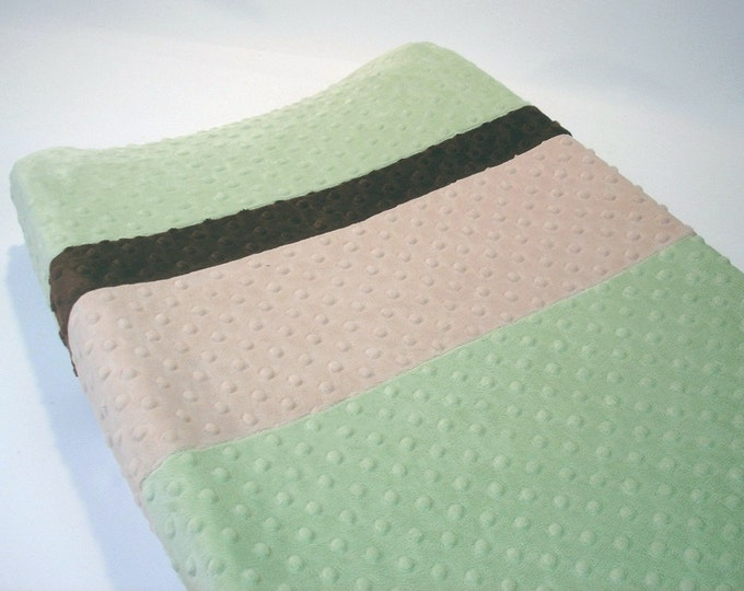 Sage Green Changing Pad Cover with Stripes