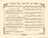 You Are Mine - Hymn Art - Custom Christian Home Decor - VintageVerses Sheet Music - Inspirational Wall Art - Music by David Haas - Parchment