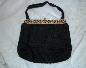 Vintage 1940s Goth Black Bead Handbag Film Noir Art Deco Ornate Lumured Petite Bead