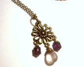 Pale Pink Amethyst Pendant in Antique Brass with Dark Amethyst Accents