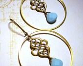 Baby Blue Glass Briolettes in Brass Hoops Earrings in Antique Brass