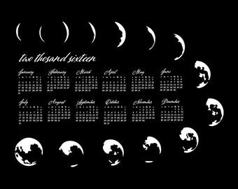 SALE - Letterpress Calendar - 2016 Calendar - Moon Phases Typo