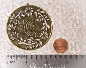 5 Pieces ~ Butterfly Pendant Stampings – Large Stamped Findings- Jewelry Making Links- Cold Connections