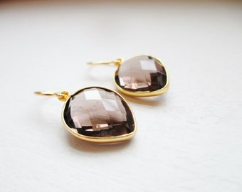 Dainty Smokey Quartz Gemstone Drop Earrings - Petite Teardrop Gemstone
