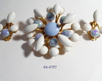 FREE SHIP Beau Jewels Brooch And Earrings Demi Set (4-4757)