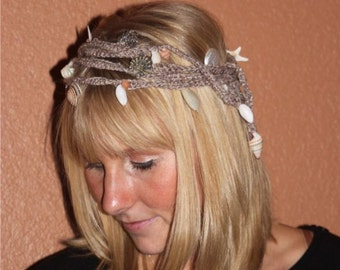 Beach Wedding Halo Crown - Natural Wrap Headpiece with Seashells, Starfish and Sandollars