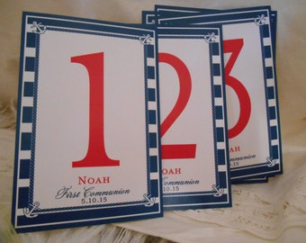 Nautical Table Numbers for Weddings, First Communion, and Special Occasions -  Customizable - 10 Table Numbers - Tented