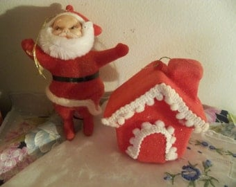 antique santa and house old felt over plastic ornaments