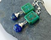 karma. bohemian czech glass. lapis lazuli. sterling silver.