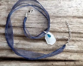 Beach glass necklace - white, teal, navy ribbon