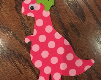 Girly Dinosaur Iron On Applique, You Choose Fabric