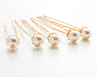 Pearl & Gold Wedding Hair Pins. Set of 6, 8mm Swarovski Crystal Pearls. Bridal Hair Pins. Wedding Hair Accessories.