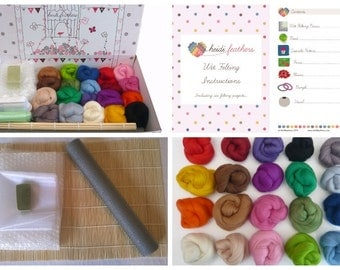 Heidifeathers Boxed Premium Wet Felting Kit - 20 Merino Colours