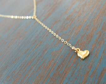 Gold Y lariat heart necklace - Long Gold lariat necklace - Layering necklace - Gold filled lariat necklace with heart charm - WM115