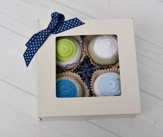 Creative Baby Gifts For Boy : Washcloth cupcakes creative baby gift boy by