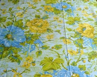 Vintage Fabric - Turquoise and Yellow Chinoiserie - House n Home Upholstery By the Yard