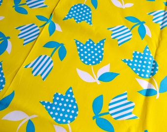 Vintage Fabric  - Mod Turquoise Tulips on Chartreuse Broadcloth - By the Yard