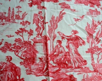 Red and White Toile Fabric - Everfast Polished Cotton - 44 x 53