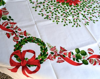 Vintage Christmas Tablecloth - Poinsettia Ornaments Trees Wreaths - 52 x 52 NOS
