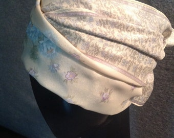 Vintage Beige and Gray Floral Oblong Scarf (S-71)