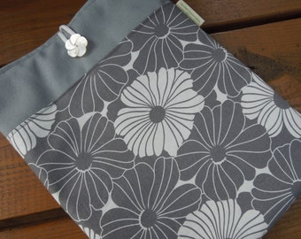 iPad cover- iPad case - iPad sleeve - Padded iPad protection case - Tablet pouch - Graphite blossoms  -  with or without pocket, your choice