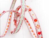 Leather Wrap Bracelet in Orange, Silver and light Mint Green