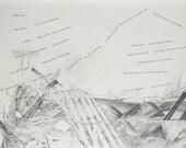 Shakespeare Sonnet 55 Collage- Pencil Drawing on Paper- Original Fine Art- Poetry Art- sonnet lv- 15x22- Black|White- Large Wall Art