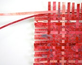 Red Paper Weaving- Love Is The Answer- Abstract Paper Art-  Handwoven Art- 10x10- Mixed Media- Wall Weave Art- Love, Words