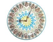 Peacock Inspired Wall Clock - Plate Clock - Kitchen Clock - Turquoise Green Brown Clock - Peacock Home Decor - Unique Wall Decor  - 1749