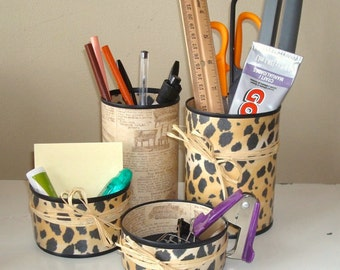 Cheetah Print Desk Accessories - Pencil Holder - Pencil Cup - Office Organization - Office Decor - 796