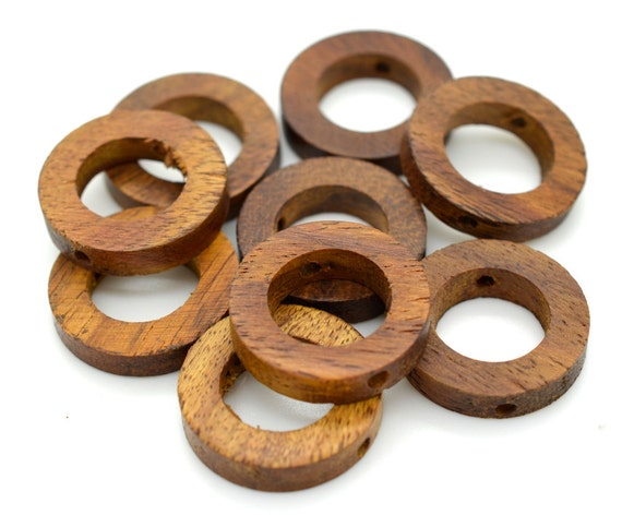 Wood rings 20mm 10pcs craft rings natural wood by hempbeadery for Wooden rings for crafts